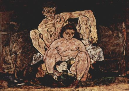 Schiele, Egon: The Family/Crouching Couple. Fine Art Print/Poster. Sizes: A4/A3/A2/A1 (003227)